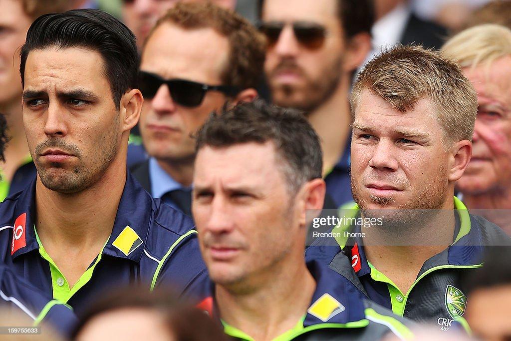 Australian cricketers Mitchell Johnson, David Hussey and David Warner attend the Tony Greig memorial service at Sydney Cricket Ground on January 20, 2013 in Sydney, Australia.