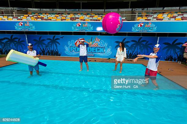Australian cricketers Nathan Lyon Chadd Sayers former Olympic swimmer and Pool Deck ambassador Stephanie Rice and cricketer Jackson Bird pose for...