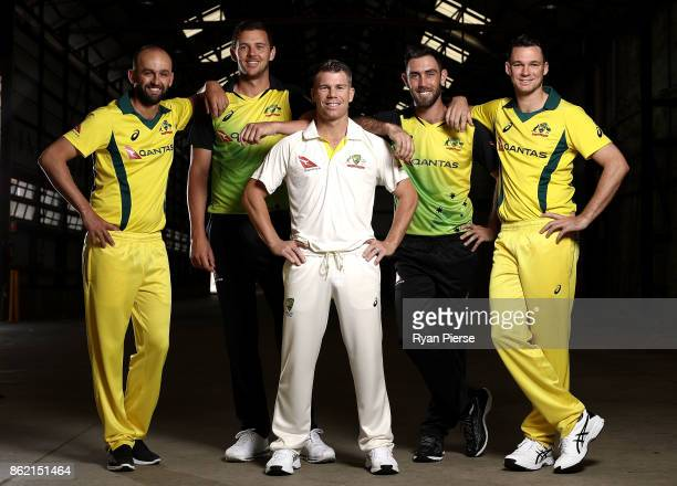 Australian Cricketers Nathan Lyon Josh Hazlewood David Warner Glenn Maxwell and Peter Handscomb pose during the Australian Cricket Team ASICS Kit...
