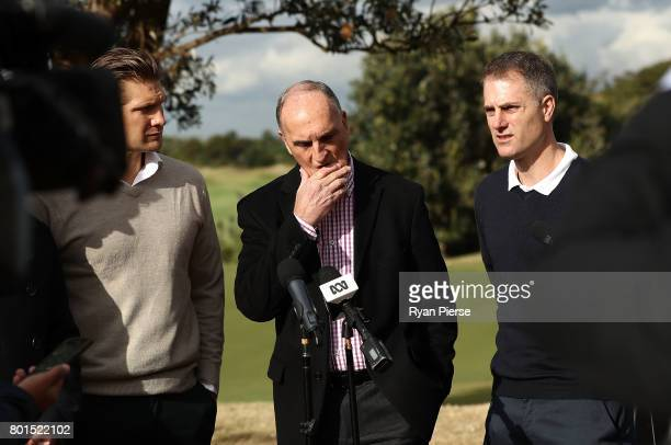Australian Cricketers Shane Watson and Simon Katich along with ACA President Greg Dyer speak to the media during the Australian Cricketers'...