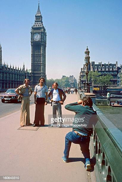 Australian cricketers touring London 1977 Rixon Malone and Walters have their photo taken