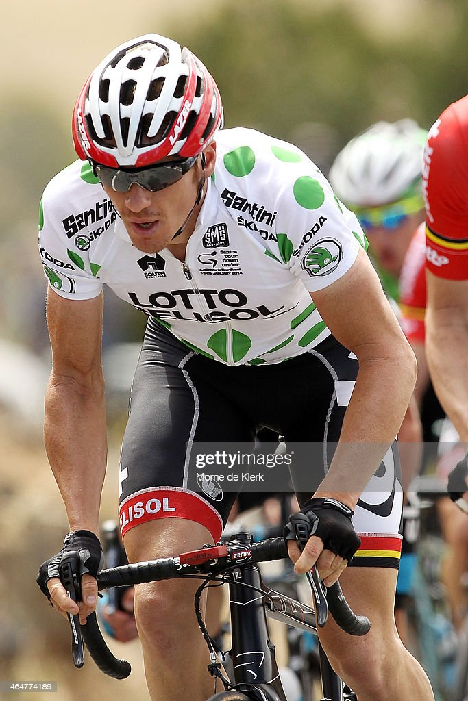 Australian cyclist <a gi-track='captionPersonalityLinkClicked' href=/galleries/search?phrase=Adam+Hansen&family=editorial&specificpeople=4105944 ng-click='$event.stopPropagation()'>Adam Hansen</a> of Lotto-Belisol competes during Stage Four of the Tour Down Under on January 24, 2014 in Adelaide, Australia.