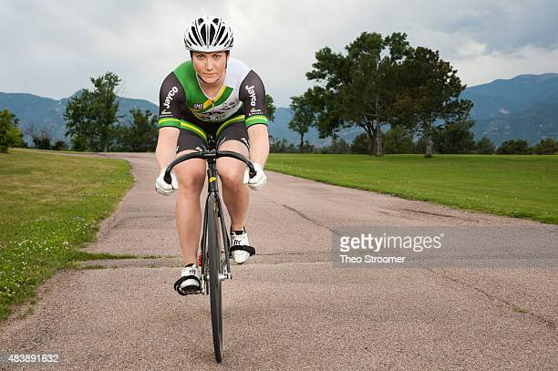 Australian Cyclist Anna Meares poses during a portrait shoot at Memorial Park on August 1 2015 in Colorado Springs Colorado