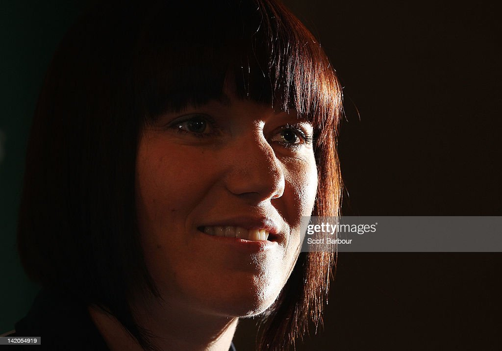 Australian cyclist Anna Meares speaks to the media during a press conference at the Grand Hyatt Melbourne on March 29, 2012 in Melbourne, Australia.