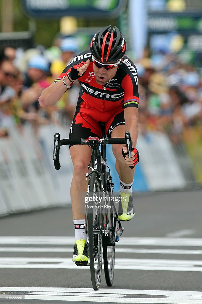 Australian cyclist <a gi-track='captionPersonalityLinkClicked' href=/galleries/search?phrase=Cadel+Evans&family=editorial&specificpeople=661127 ng-click='$event.stopPropagation()'>Cadel Evans</a> of the BMC Racing team celebrates after winning Stage Three of the Tour Down Under on January 23, 2014 in Adelaide, Australia.