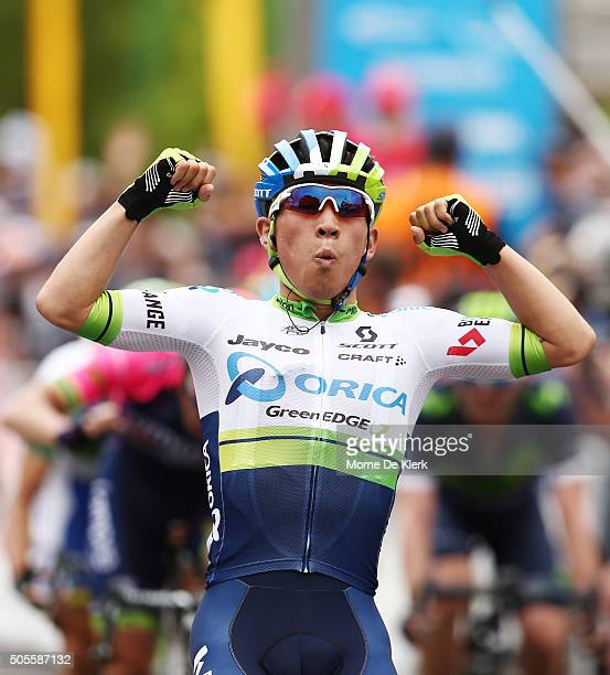 Australian cyclist Caleb Ewan of Orica GreenEDGE celebrates after winning stage 1 of the 2016 Tour Down Under from Prospect to Lyndoch on January 19...
