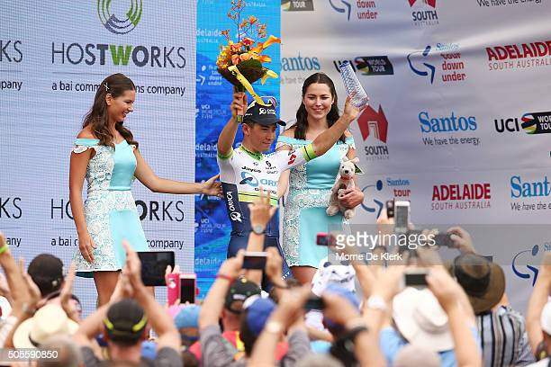 Australian cyclist Caleb Ewan of Orica GreenEDGE celebrates on stage after winning stage 1 of the 2016 Tour Down Under from Prospect to Lyndoch on...