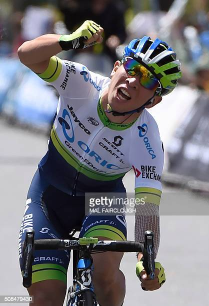 Australian cyclist Caleb Ewan of OricaGreenedge celebrates as he wins stage two of the 2016 Herald Sun Tour cycling race Yarra Glen to Moe in...