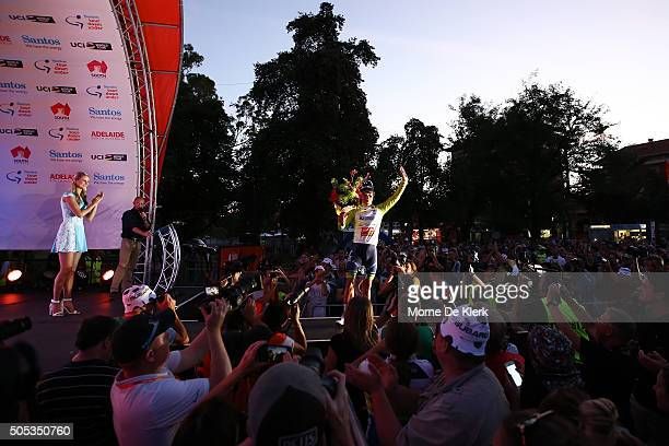 Australian cyclist Caleb Ewan of the OricaGreenEdge Team celebrates in his winners jersey after winning the People's Choice Classic a preview race to...