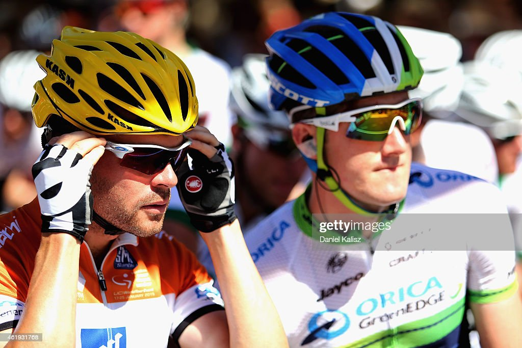 Australian cyclist <a gi-track='captionPersonalityLinkClicked' href=/galleries/search?phrase=Jack+Bobridge&family=editorial&specificpeople=4167089 ng-click='$event.stopPropagation()'>Jack Bobridge</a> (L) of UniSA-Australia and Australian Cyclist <a gi-track='captionPersonalityLinkClicked' href=/galleries/search?phrase=Luke+Durbridge&family=editorial&specificpeople=4866206 ng-click='$event.stopPropagation()'>Luke Durbridge</a> of Orica GreenEdge look on prior to the start of stage 3 of the 2015 Santos Tour Down Under on January 22, 2015 in Adelaide, Australia.
