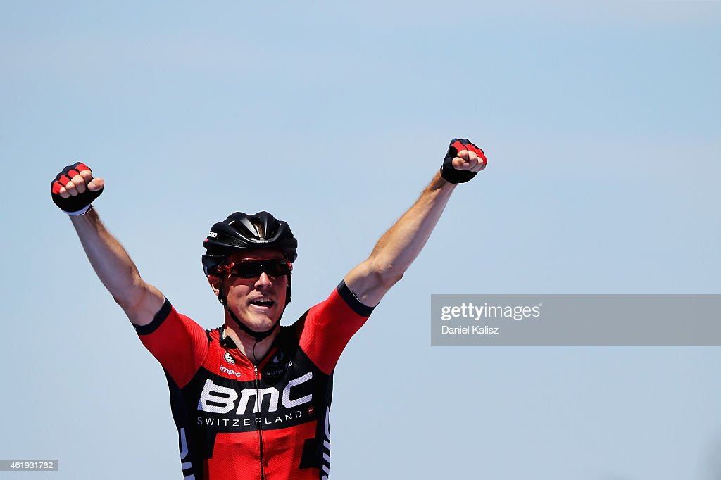 Australian cyclist <a gi-track='captionPersonalityLinkClicked' href=/galleries/search?phrase=Rohan+Dennis&family=editorial&specificpeople=4872676 ng-click='$event.stopPropagation()'>Rohan Dennis</a> of BMC Racing reacts after winning stage 3 of the 2015 Santos Tour Down Under on January 22, 2015 in Adelaide, Australia.æ