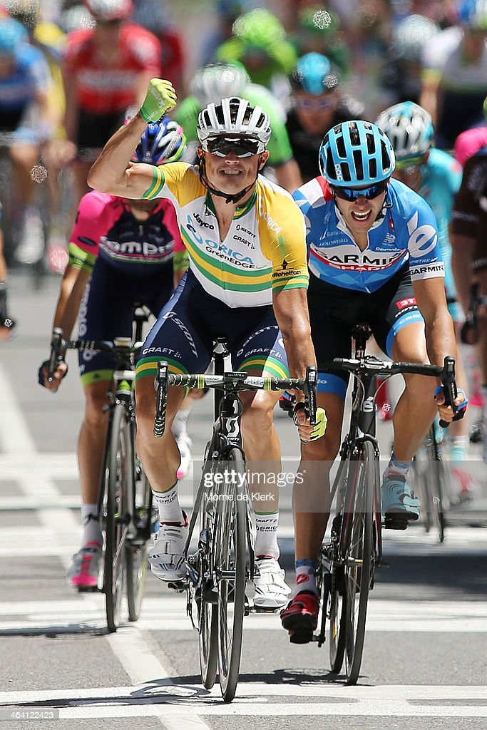 Australian cyclist Simon Gerrans of Orica GreenEDGE celebrates after winning stage one of the Tour Down Under on January 21 2014 in Adelaide Australia