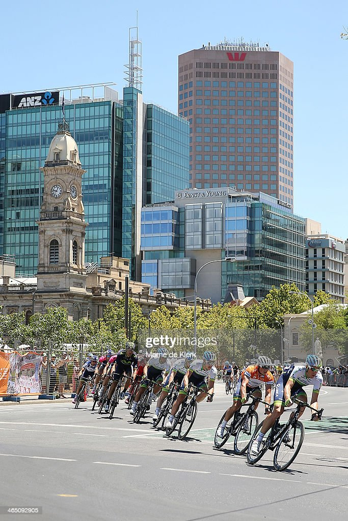 Australian cyclist Simon Gerrans of Orica GreenEDGE sits second behind his teammate during Stage Six of the Tour Down Under on January 26 2014 in...