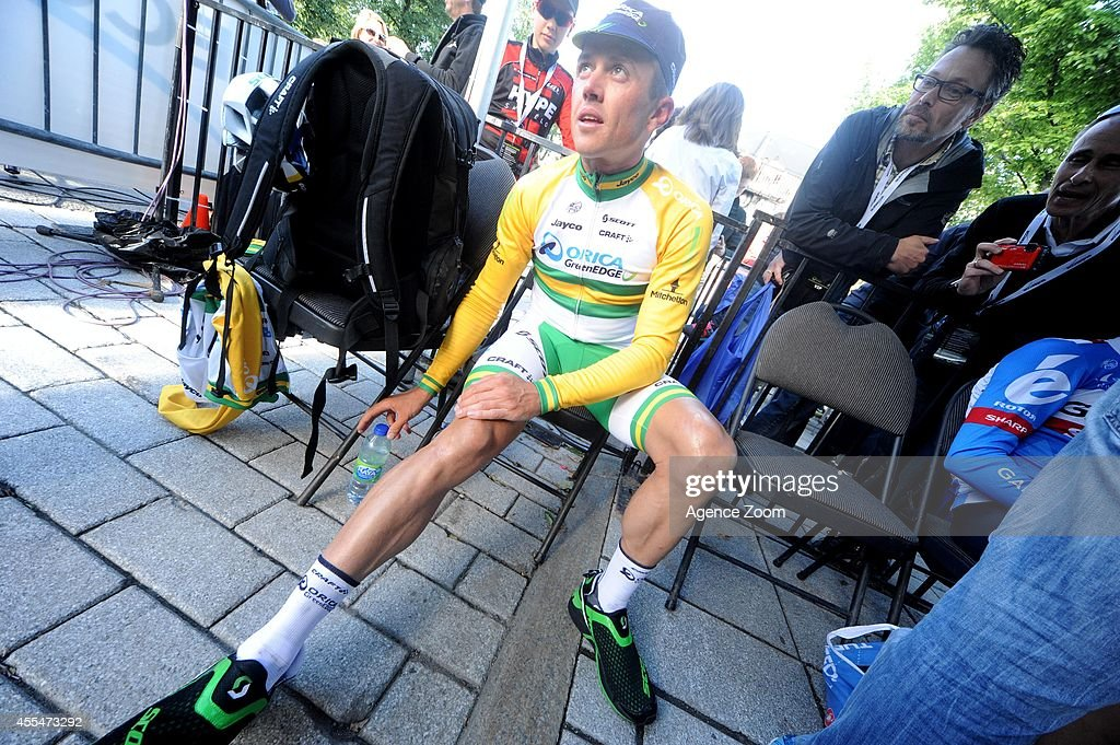 Australian cyclist Simon Gerrans of Team Orica Greenedge takes 1st place during the UCI World Tour's Grand Prix Cycliste de Quebec on September 12...
