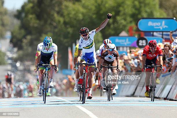 Australian cyclist Steele Von Hoff of UniSA Australia celebrates after winning the Stage 4 of the 2015 Santos Tour Down Under on January 23 2015 in...