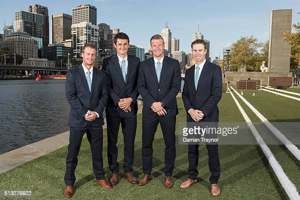 Australian Davis Cup captain Lleyton Hewitt poses with team member Bernard Tomic Sam Groth and John Peers before the Australia v USA Davis Cup Dinner...