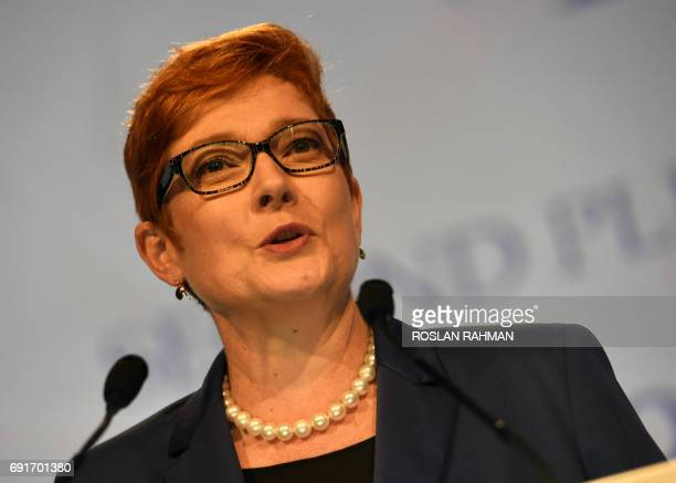 Australian Defence Minister Marise Payne speaks during the second plenary session at the 16th Institute for Strategic Studies ShangriLa Dialogue...