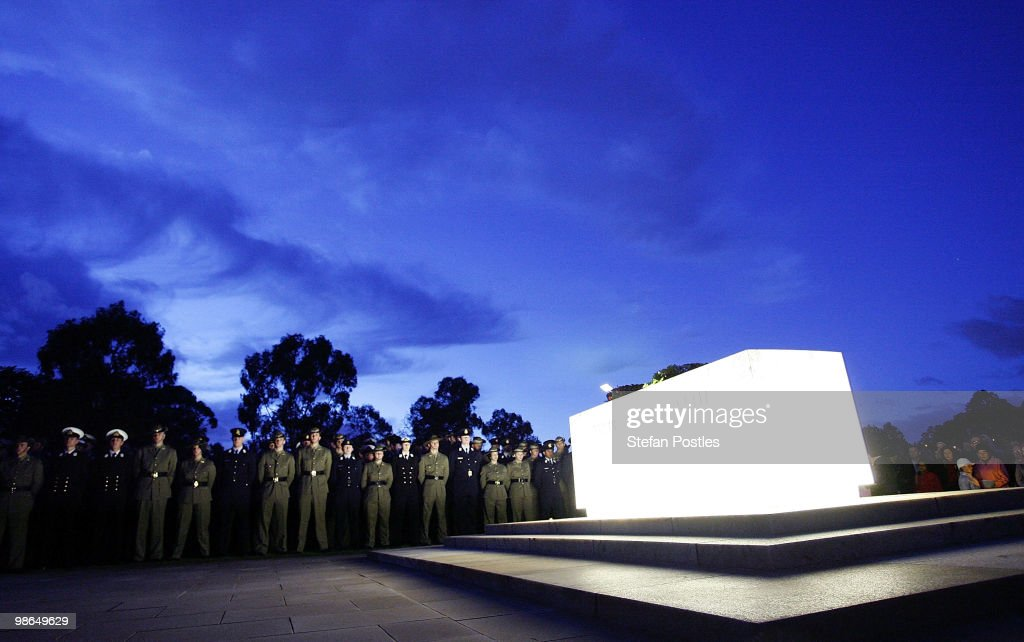 Australian Defence personnel at the Stone of Remembrance during the ANZAC Day Dawn Service at the Australian War Memorial on April 25, 2010 in Canberra, Australia. Veterans, dignitaries and members of the public today marked the 95th anniversary of ANZAC (Australia New Zealand Army Corps) Day, when First World War troops landed on the Gallipoli Peninsula, Turkey early April 25, 1915, commemorating the event with ceremonies of remembrance for those who fought and died in all wars.
