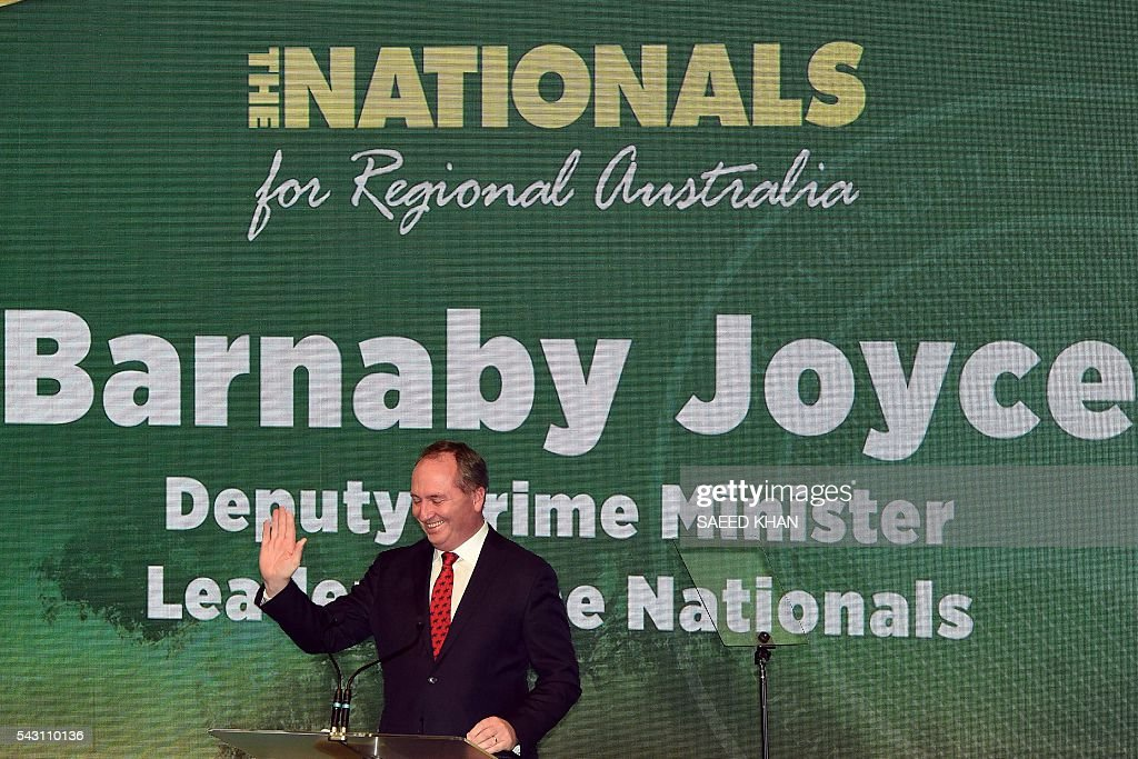 Australian Deputy Prime Minister and leader of the National Party, Barnaby Joyce speaks at the Coalition Campaign Launch in Sydney on June 26, 2016. Australia's prime minister promised stability and strong economic policy in the wake of global turmoil sparked by Britain's Brexit vote, as he campaigned June 26 ahead of next week's national polls. / AFP / SAEED