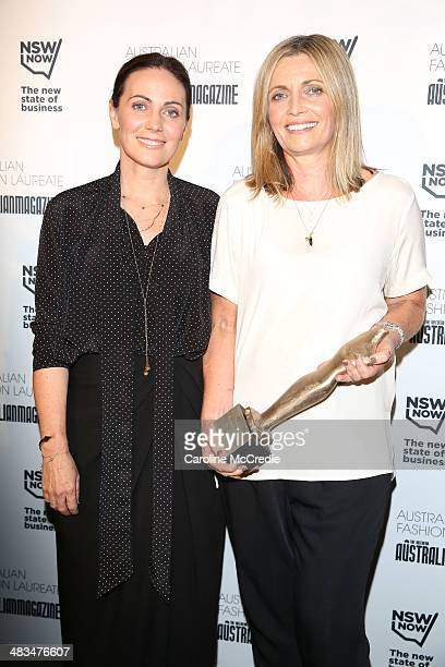 Australian designers Nicky Zimmermann and Simone Zimmermann pose after winning the Fashion Laureate during MercedesBenz Fashion Week Australia 2014...