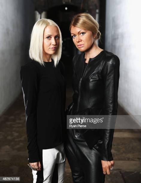 Australian designers of Zhivago Lara Kovacevich and Lydia Tsvetnenko pose for a portrait ahead of MercedesBenz Fashion Week Australia 2014 on April 6...