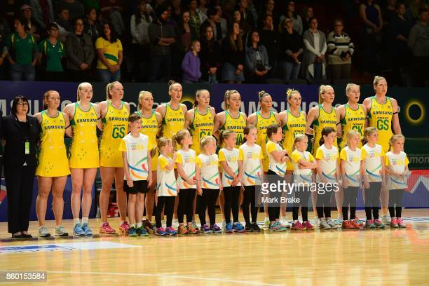 Australian Diamonds line up for the national anthem during the 2017 Constellation Cup match between the Australia Diamonds and New Zealand Silver...