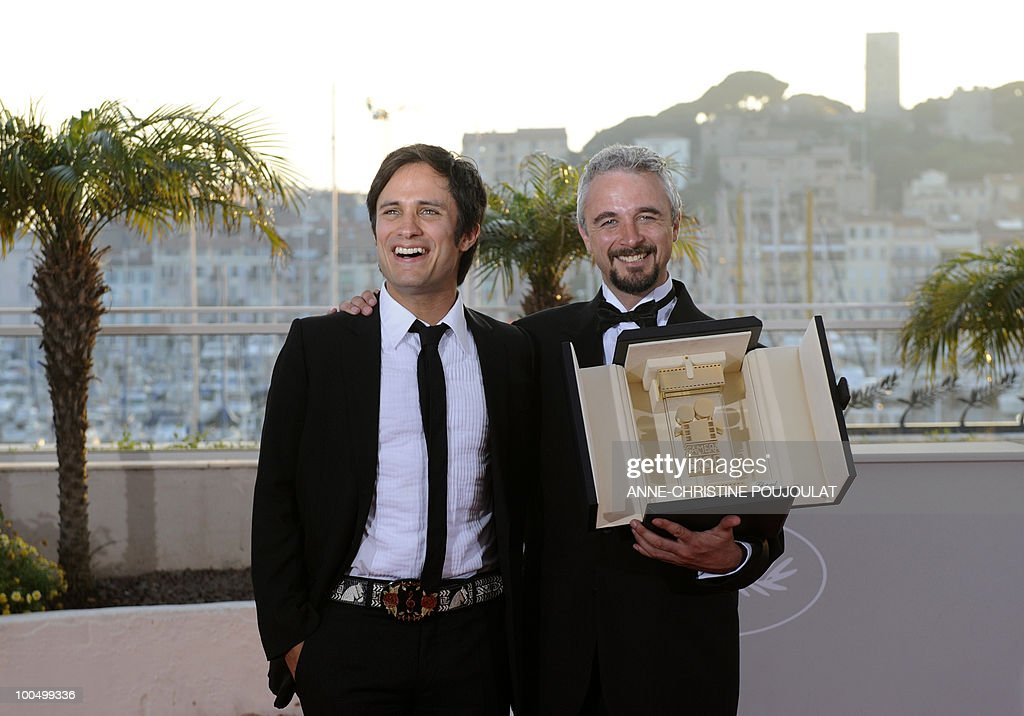 Australian director Michael Rowe (R) poses next to Mexican actor and president of the Camera d'Or jury, Gael Garcia Bernal after receiving the Camera d�Or prize for his film 'Ano Bisiesto' (Lap Year) during the closing ceremony at the 63rd Cannes Film Festival on May 23, 2010 in Cannes.