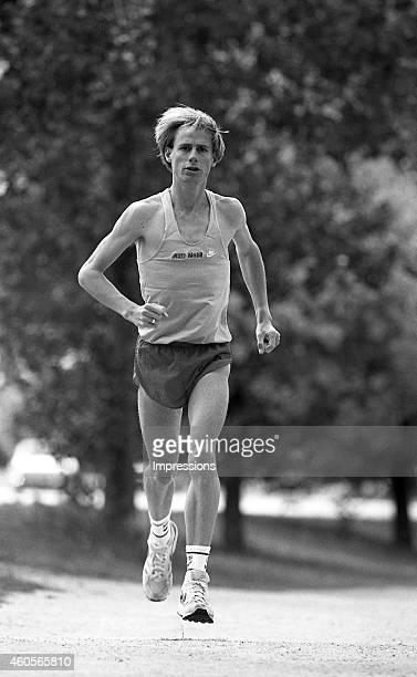 Australian distance runner Steve Moneghetti runs during a training session in Melbourne