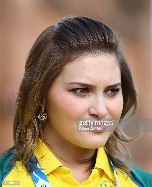 Australian diver Melissa Wu looks on during the Australian Commonwealth Games official team reception at the Kelvin Grove Art Gallery and Museum on...