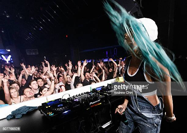 Australian DJ Tigerlily performs at Celebrities Nightclub on January 31 2016 in Vancouver Canada