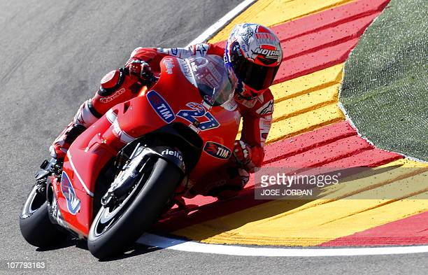 Australian Ducati Team rider Casey Stoner rides during the MotoGP race of the Aragon Grand Prix at Motorland's racetrack in Alcaniz on September 19...