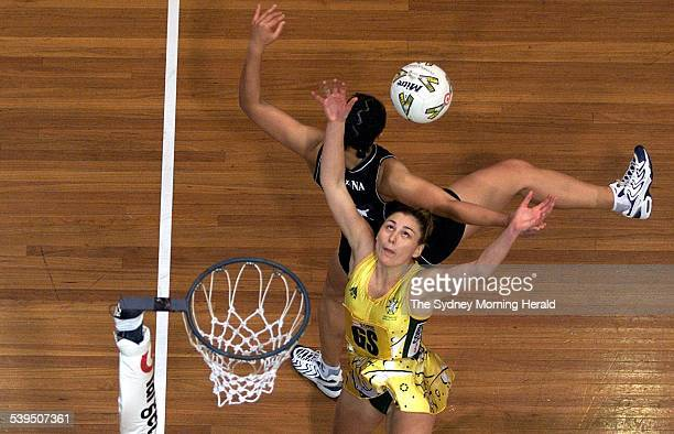 Australian Eloise Southby wrestles with New Zealand's Linda Vagana during the Australia v New Zealand Tri Nations Series 15 June 2001 SMH Picture by...