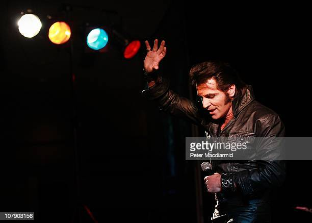 Australian Elvis tribute artist Mark Andrew takes part in the European Elvis Championships at the Hilton Hotel on January 6 2011 in Birmingham...