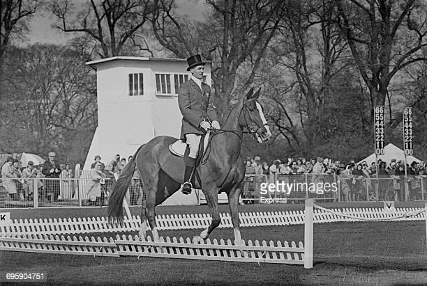 Australian equestrian champion Bill Roycroft astride Avatar at the Badminton Horse Trials UK 9th April 1965