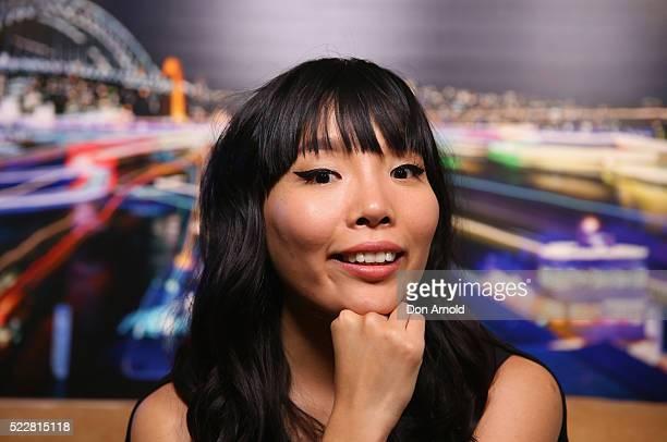Australian Eurovision entrant Dami Im poses inside TwitterAU on April 21 2016 in Sydney Australia