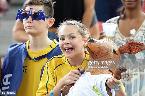 Australian fans are seen during the 2016 Singapore Sevens Cup Quarter Final between Fiji and Australia at National Stadium on April 17 2016 in...