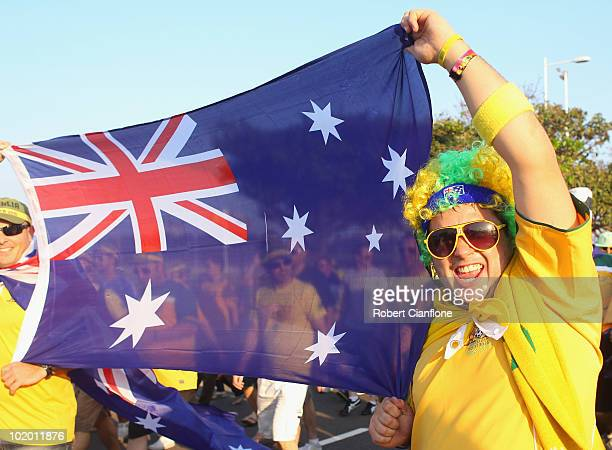 Australian fans are seen walking to Moses Mabhida Stadium priror to a Socceroos training session at the Moses Mabhida Stadium on June 12 2010 in...