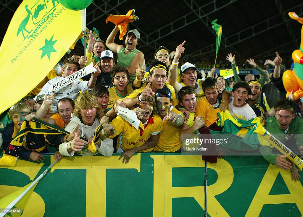 Australian fans celebrate after the Socceroos beat Uruguay after the second leg of the 2006 FIFA World Cup qualifying match between Australia and Uruguay at Telstra Stadium November 16, 2005 in Sydney, Australia.