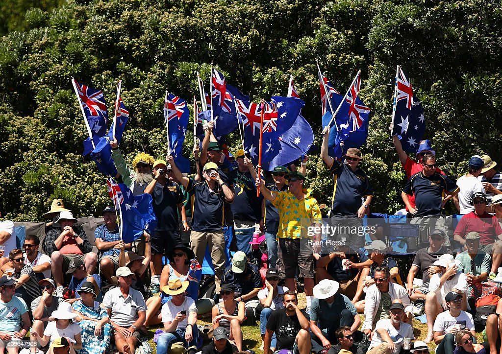 Australian fans cheer during day one of the Test match between New Zealand and Australia at Basin Reserve on February 12, 2016 in Wellington, New Zealand.