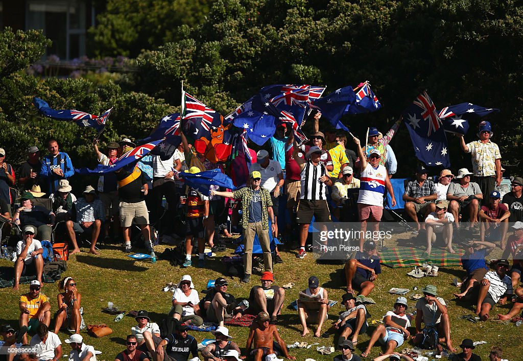 Australian fans cheer during day two of the Test match between New Zealand and Australia at Basin Reserve on February 13, 2016 in Wellington, New Zealand.