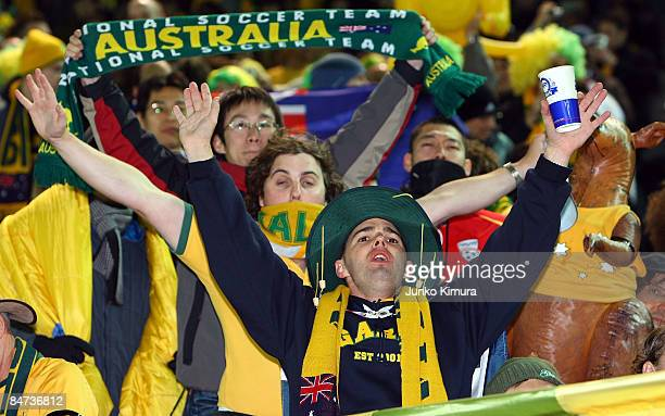 Australian fans cheer during the 2010 FIFA World Cup Asian qualifying match between Japan and Australia at Nissan Stadium on February 11 2009 in...