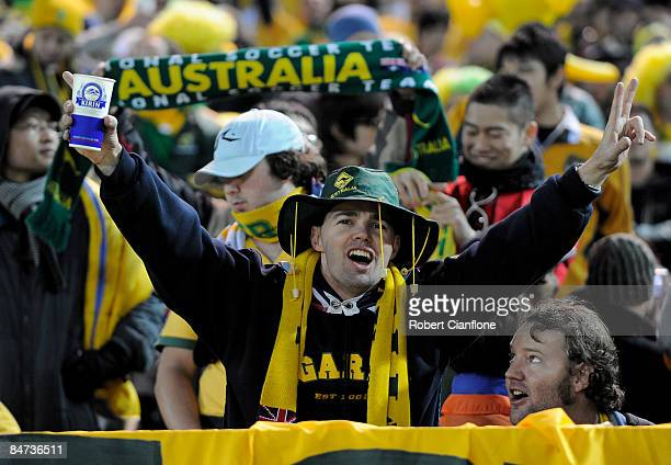 Australian fans cheer prior to the 2010 FIFA World Cup Asian qualifying match between Japan and Australia at Nissan Stadium on February 11 2009 in...