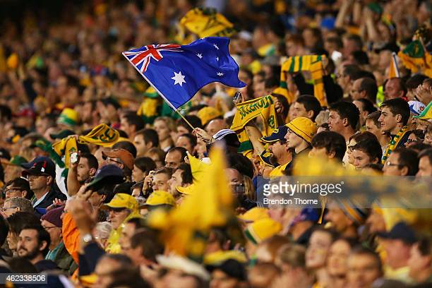 Australian fans cheer their team during the Asian Cup Semi Final match between the Australian Socceroos and the United Arab Emirates at Hunter...