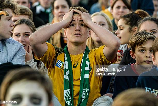 Australian fans look worried during the Rugby World Cup Final match between the New Zealand All Blacks and Australia Wallabies at Richmond Park Fan...