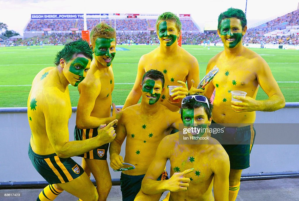 Australian fans show their support during the 2008 Rugby League World Cup Pool 1 match between Papua New Guinea and the Australian Kangaroos at Dairy...