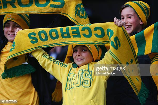 Australian fans show their support during the 2018 FIFA World Cup Qualifier match between the Australian Socceroos and Japan at Etihad Stadium on...