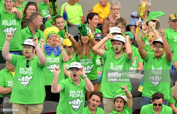 Australian fans show their support during the Davis Cup World Group Quarterfinals between Australia and the USA at Pat Rafter Arena on April 7 2017...