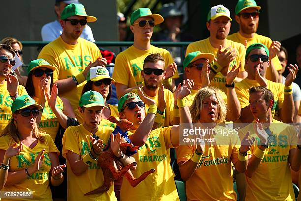 Australian fans The Fanatics are seen courtside supporting Lleyton Hewitt of Australia in his Gentlemen's Singles first round match against Jarkko...