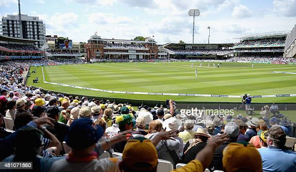Australian fans watch on as Mitchell Marsh of Australia hits four runs during day two of the 2nd Investec Ashes Test match between England and...