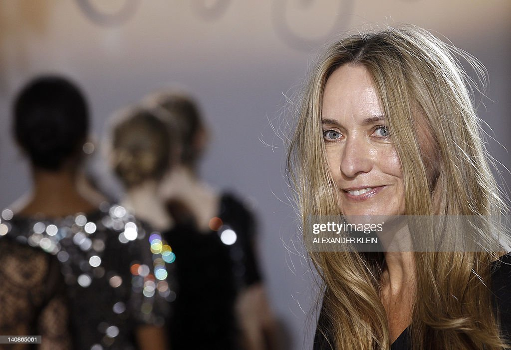 Australian fashion designer Collette Dinnigan acknowledges the public following her readytowear collection show on March 7 2012 in Paris AFP...